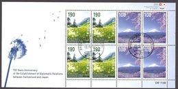 Switzerland / Svizzera / Schweiz - 2014 Joint Issue With Japan, Mount Fuji, Samnaun Valley, Mountains, Minisheet Used - Used Stamps