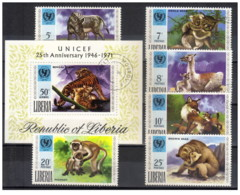 Liberia - 1971 - Usato/used - Fauna - UNICEF - Mi N. 803/08 + Bl 57 - Altri