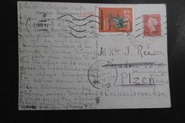 Niederlande Mi.s.scan Mit Vignette S.A.T. 1948 Auf AK Nach Pilsen/CSSR - Periode 1891-1948 (Wilhelmina)