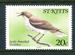 St Kitts 1981-82 Birds - No Imprint Date - 20c Thrasher MNH (SG 60A) - St.Kitts E Nevis ( 1983-...)