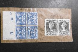 Niederlande Mi. 150 Rand Viererblock + 130 Paar Briefstück Gestempelt Harlem 22.8.1934 - Periode 1891-1948 (Wilhelmina)