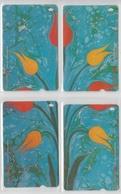 TURKEY 2002 TURKISH ARTS KULTUR BAKANLIGI FLOWER TULIP PUZZLE SET OF 4 PHONE CARDS - Puzzles