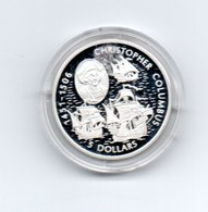 LIBERIA 5 DOLLARS 2006 ZILVER PROOF COLUMBUS SHIPS DAMAGE ONLY ON CAPSEL - Liberia