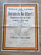 AFFICHE POSTER VILLE DE LEUZE 11 MAI 1963  65 CM X 50 CM JOURNEE DU ROI ALBERT I  ( DECHIRURE EN BAS ) - Affiches