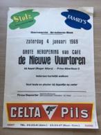 AFFICHE POSTER BREDENE BREEDENE 1969   CAFE NIEUWE VUURTOREN STOLZ CELTA PILS GENT   70 X 53 - Affiches
