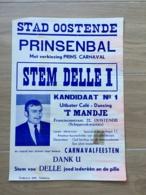 AFFICHE POSTER OOSTENDE OSTENDE PRINSENBAL CARNAVAL  43 X 30 - Affiches