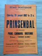 AFFICHE POSTER OOSTENDE OSTENDE  1967 PRINSENBAL CARNAVAL  55 X 35 - Affiches