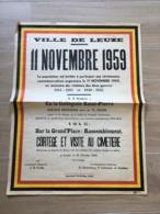 AFFICHE POSTER VILLE DE LEUZE  11 NOVEMBRE 1959 VICTIMS DE GUERRE 1914-1918 1940-1945  65 X 49 - Affiches