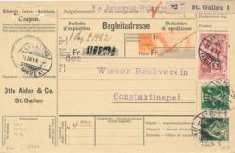 Schweiz - 1918 - 3Fr Freimarke + 55c On Begleitadresse From St Gallen To Constantinopel - Via Österreich-Bulgarie - Schweiz