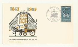 CACHET  COMMEMORATIF  LES 100 ANS DU MAGASIN DECRE A NANTES 1867/1967  SUR ENVELOPPE - Cachets Commémoratifs