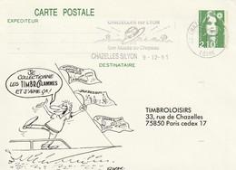 """Entier Postal Repiqué De """"Chazelles-sur-Lyon - 42, Loire"""" Du 09-12-1991, """"Son Musée Du Chapeau"""" Sur EP 2622 - Annullamenti Meccanici (pubblicitari)"""