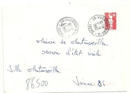 Lettre Obliteration Recette Urbaine Villefontaine A Isere Sur Marianne De Briat - 1961-....