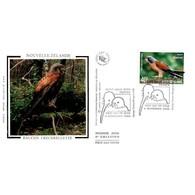 FDC Soie - Les Oiseaux Menacés. Faucon Crecerellette - 4/11/2000 Nouvelle Zélande - FDC
