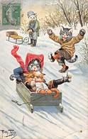 Illustrateur - N°65642 - A. Thiele N°1194 - Chats Habillés Faisant De La Luge - Carte Vendue En L'état - Thiele, Arthur