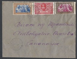 Madagascar Enveloppe Y/T 166/167/172 TAD IFANABIANA Du 26/1/1942 Vers TANANARIVE - Lettres & Documents