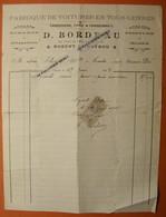 NOGENT LE ROTROU Eure Et Loir 28 D. BORDEAU Facture 1908 Carrosserie Forge Et Charronnage Voiture - France
