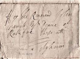 "1699 Rare Irish Letter ""ffor The Reverend John Trench, Dean Of Raphoe"", From A Mr Dolys (?), Dublin   Ref 0640 - Manuscrits"