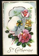 Carte Avec Bonnet De Ste Catherine En Decoupis, Rose - Sainte-Catherine