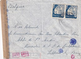 DDW787 - Lettre Du Portugal 1943 Vers LOPPEM Lez BRUGES - Diverses Censures Allemandes , Dont Fleur Et Lettre D Rouge - Guerre 40-45