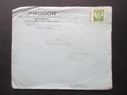 Jugoslawien König Peter II. Michel Nr. 309 Randstück Links! Firmenumschlag Prodor Beograd - 1931-1941 Kingdom Of Yugoslavia