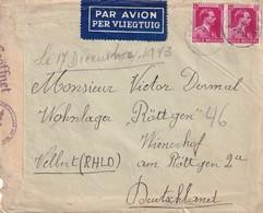 DDW792 - TRAVAILLEURS CIVILS BELGES En Allemagne - Lettre LENS 1943 Vers Wohnlager Rottgen - TARIF AVION 2 F - Guerre 40-45