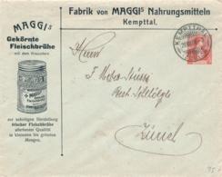 Schweiz - 1908 - 10c Helvetia - Privat Ganzsache Business Cover Maggi From Kemptthal To Zürich - Ganzsachen