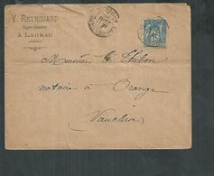 Enveloppe En Tête V Reynouard Expert Géomètre à Laurac (Ardèche) Oblitéré De Largentière Pour Orange (Vaucluse) - 1876-1898 Sage (Type II)