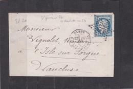 ETOILE  N°20 + Cachet Rue St-Dominique-St GERMAIN + LSC +  N°60A  Pour  L'ISLE Sur SORGUE - REF 1338 + Variété - 1877-1920: Période Semi Moderne