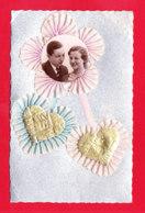 Fant-734A66  Carte Argentée, Coeurs En Tissus, En Médaillon Un Couple, Cpa - Autres