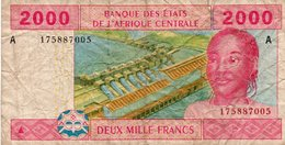 CENTRAL AFRICAN STATES 2000 FRANCS 2002 P-408Aa -A For Gabon (2002-) CIRC.(2 PICCOLI STRAPI ) - Central African States