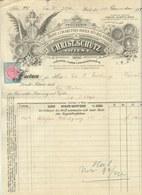 """WIEN Rechnung 1894 !! Mit Eingedruckter Fiskalmarke Bes. Deko """" Chridt.Schütz - Cigarettenpapierbüchel-Fabrik """" - Autriche"""