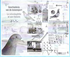 België-Belgique-2020-Geschiedenis Van De Duivensport (Duiven)-La Colombophilie (Histoire-Pigeon)-Feuillet Noir/Blanc - Black-and-white Panes