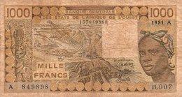 WEST AFRICAN STATES 1000 FRANCS 1981 P-107Ac  CIRC.-A For Cote D'Ivoire (Ivory Coast) - Estados De Africa Occidental