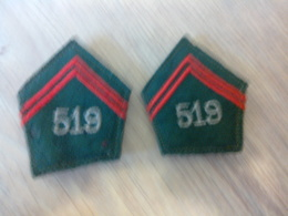 Ecussons De Col Du 519e Régiment Du Train - Escudos En Tela