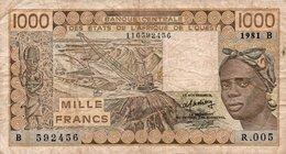 WEST AFRICAN STATES 1000 FRANCS 1981 P-207Bb  CIRC.-B For Benin (Dahomey) - Estados De Africa Occidental