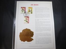 """BELG.1997 2708 2709 & 2710 : """" DE ROOS """" NL.Luxe Kunstblad Geslagen In Fijn Goud 23 Karaat , 500 Exemplaren - FDC"""