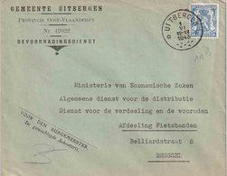 "BELGIË  RELAIS : Bf ""GEMEENTE UITBERGEN ""  Relais "" UITBERGEN  1.VI.1943"" (11 B) - Marcofilia"