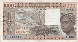 WEST AFRICAN STATES 1000 FRANCS 1981 P-707Kb  -K For Senegal  CIRC. - West African States