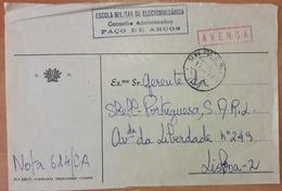 Portugal - COVER - Franchise / AVENÇA - Cancel: SPM / EPMS (1977) - Escola Militar De Electromecânica, Paço De Arcos - Franchise