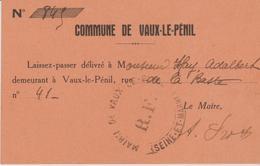 77 VAUX LE PENIL ( Laisez Passer - Documents Historiques