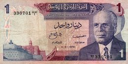 TUNISIA 1 DINAR 1972 P-67a CIRC.  SERIE 330701 - Westafrikanischer Staaten