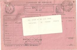 Mandat Poste Avis De Commande De Mandat Lettre Rare Obliteration Service Des Emissions Expedition Timbres Postes - Documents Of Postal Services