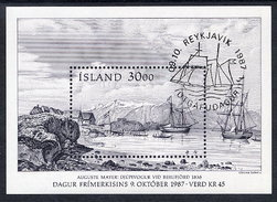 ICELAND 1987 Stamp Day Block  Cancelled.  Michel Block 8 - 1944-... Republic