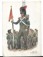 Uniformes Belges En Hommage à Ceux De 14-18 Et 40-45. Carte Publicitaire De La Collection. Signée James Thiriar. - Historia