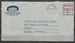 USED AIR MAIL AEROGRAMME SINGAPORE TO PAKISTAN METER MARK 1975 - Singapore (1959-...)