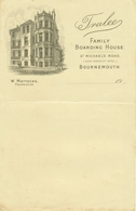 "BOURNEMOUTH Dorset England Invoice1909 Deko "" Tralee Family Boarding House - W Mattocks St.Michael's Rd "" - Reino Unido"
