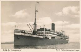 Nederland/ Indië - 1934 - 5 Cent Veth Op Fotokaart D.M.S. INDRAPOERA Van Postagent Rotterdam-Batavia/1 Naar Amsterdam - Periode 1891-1948 (Wilhelmina)