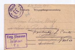 Carte De Franchise Militaire  Correspondance Des Prisonniers Camp De Giessen Pour Fontenay Le Comte - Marcophilie (Lettres)