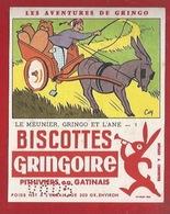 BUVARD - BISCOTTES GRINGOIRE - AVENTURES DE GRINGO - FABLE LLE MEUNIER GRINGO ET L'ÂNE - FORMAT HAUTEUR - Zwieback