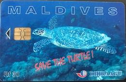 MALDIVES  -  Phonecard  -  DHIRAAGU  -  Save The Turtle  -  Rf 30 - Maldive